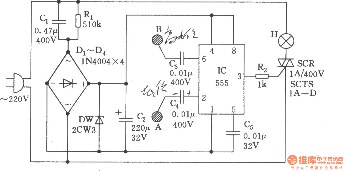 desk lamp touch switch circuit - basic circuit