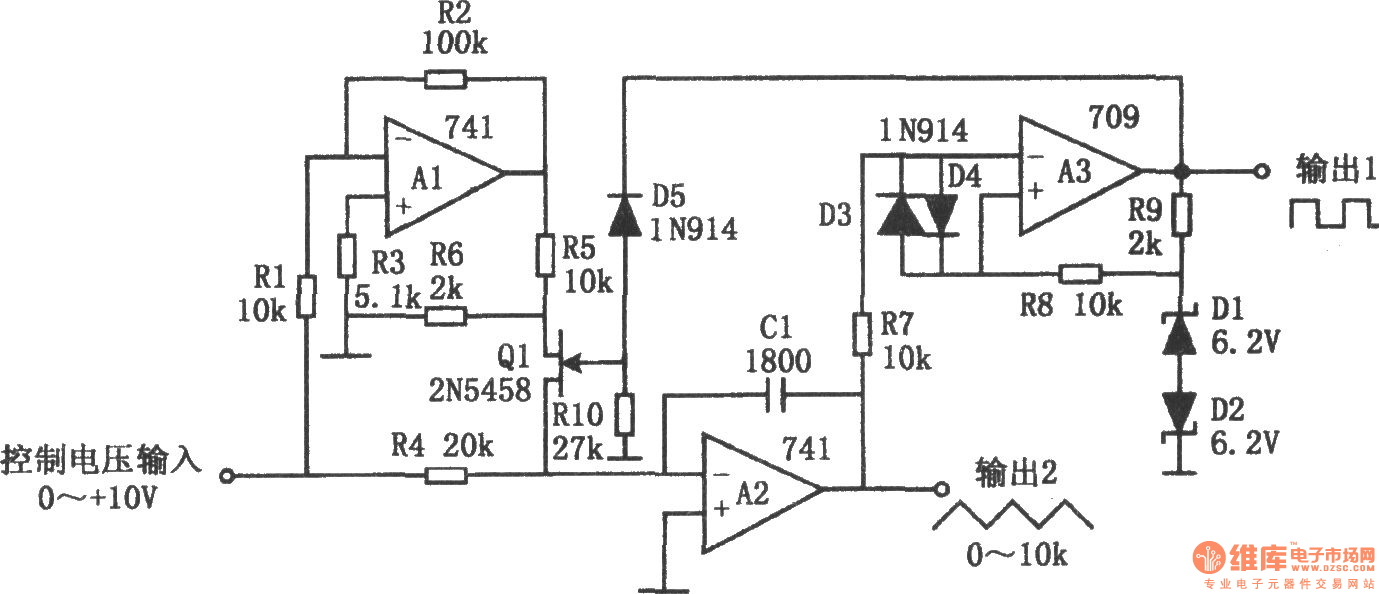 the voltage-controlled oscillator with triangular wave and square wave output
