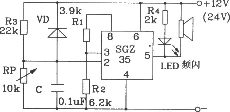 storage battery voltage alarm circuit composed of sgz35 time control integrated circuit