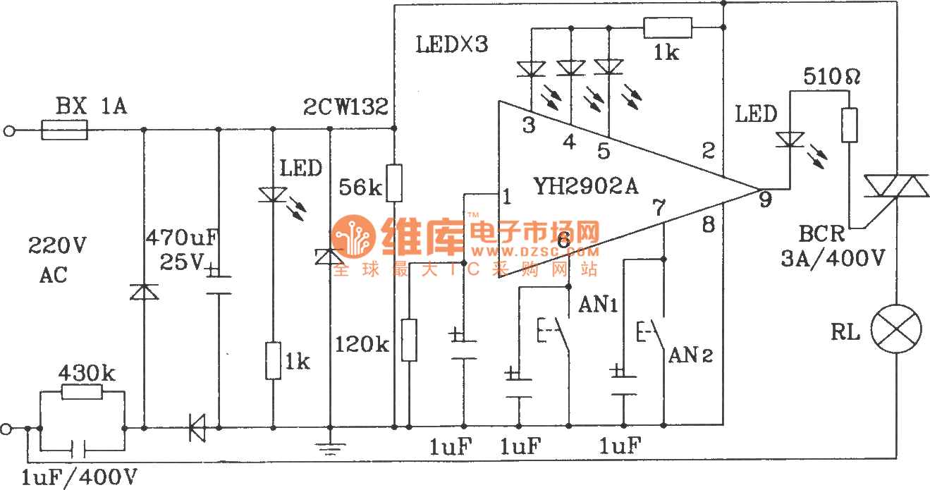 multifunction delay floodlight control circuit composed of