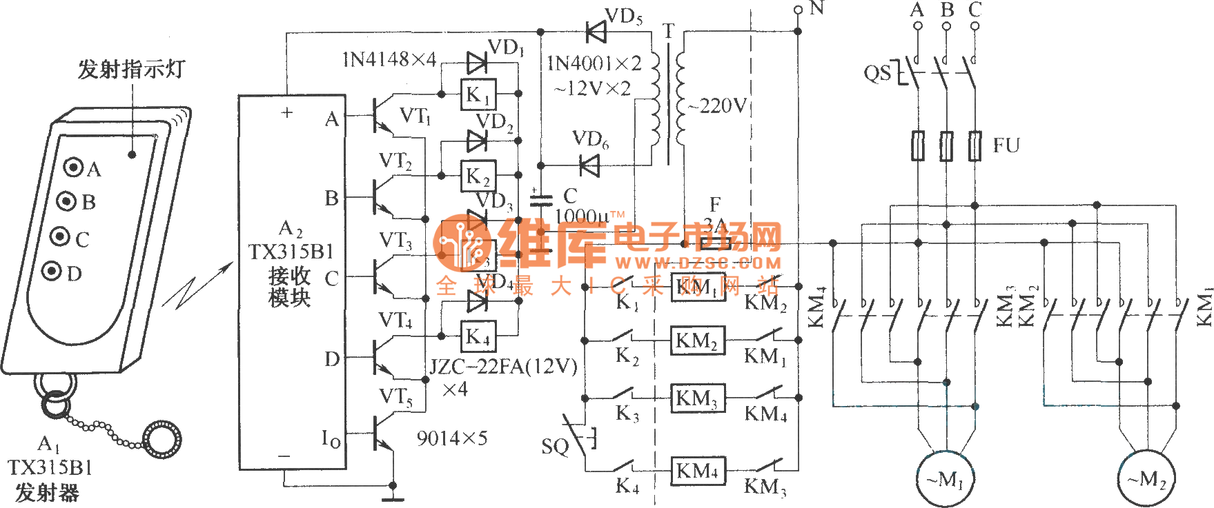 Electric single-girder crane radio remote control(TX315B1) circuit diagram