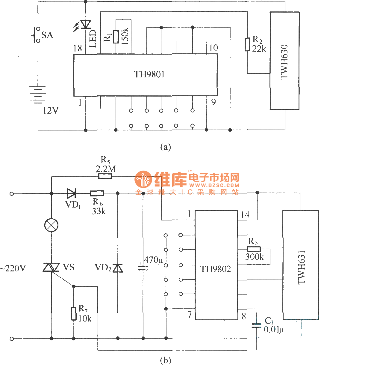 numerical coding wireless remote control dimming circuit
