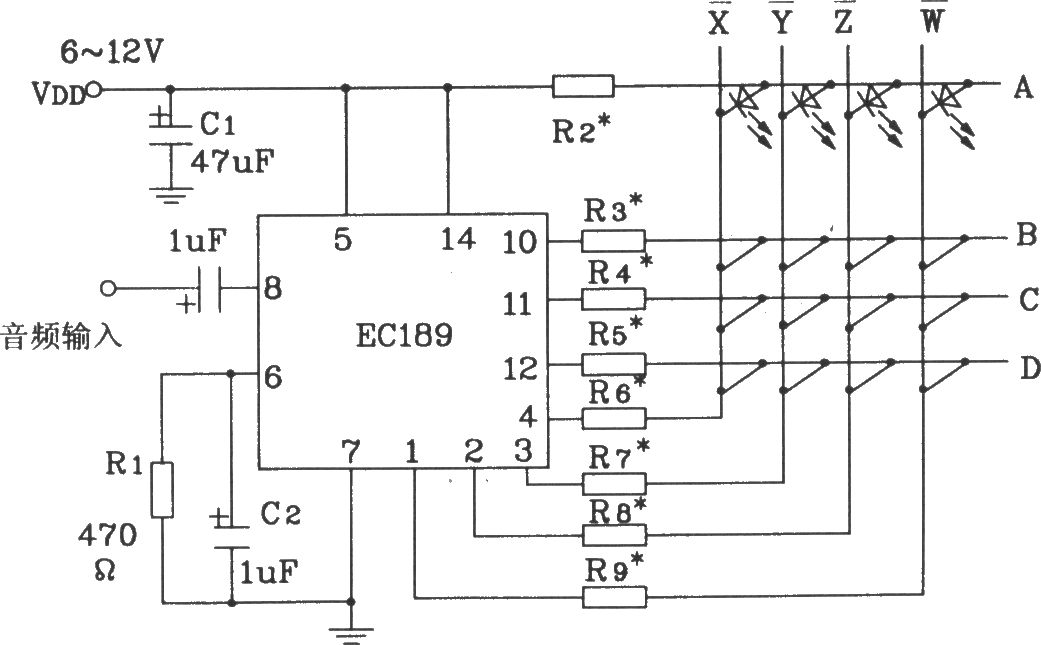 typical application circuit of audio color lamp control integrated circuit ecl89