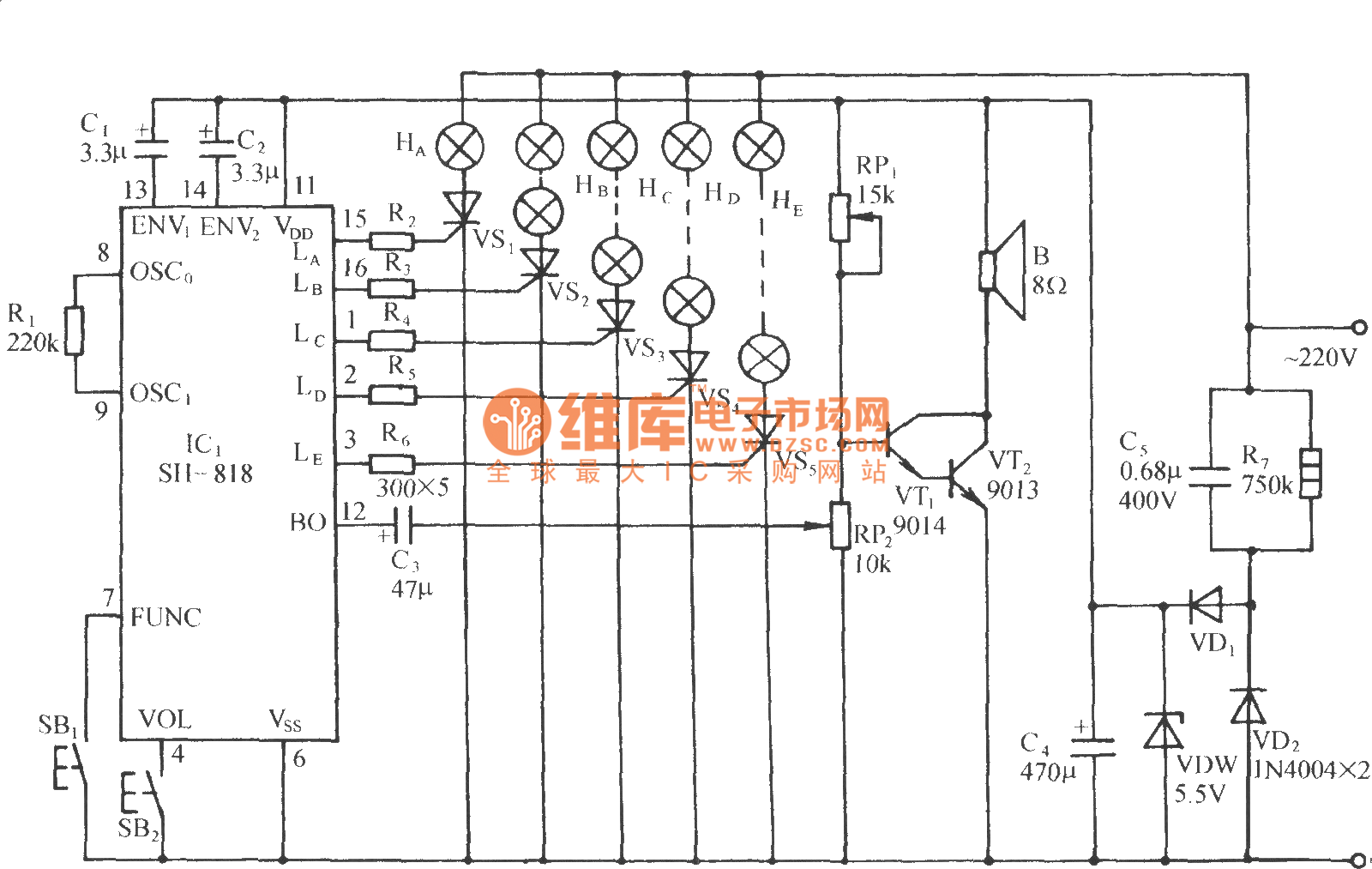 Sh 818 High Quality Dual Tone Seven Functions Color Lamp Control Circuit Diagram
