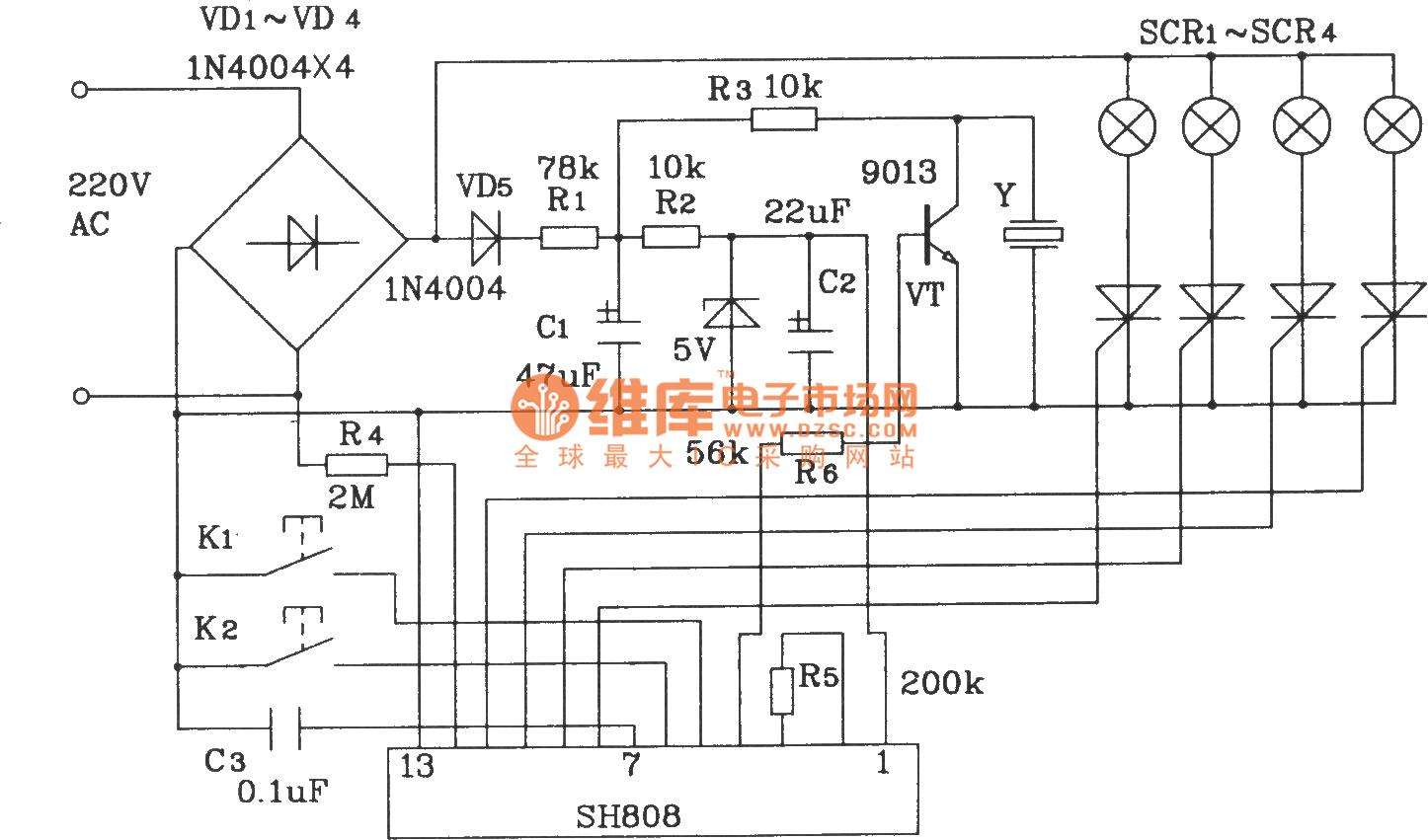Lampcontrol Ledandlightcircuit Circuit Diagram Seekiccom Wiring Power Amplifier Audiocircuit Color Lamp Control Composed Of Sh808 Multifunction Music