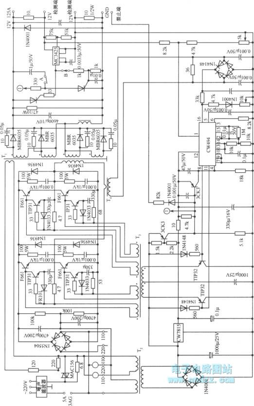 practical circuit of full bridge switching stabilized voltage supply