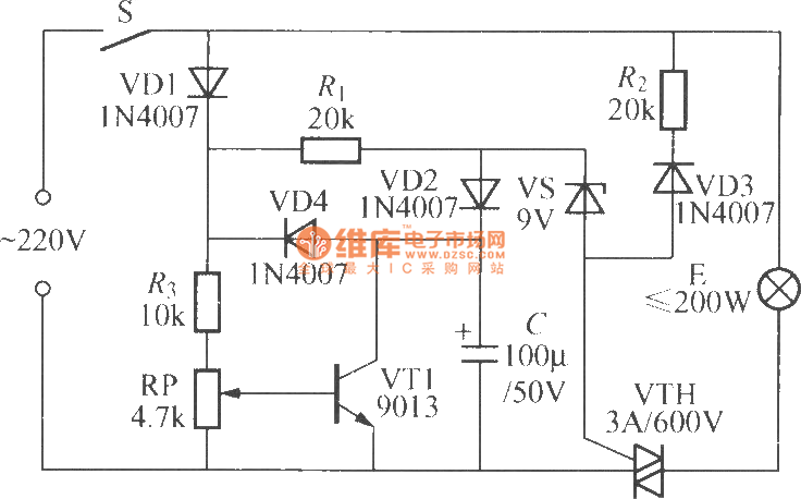 incandescent lamp life extension switch circuit 5