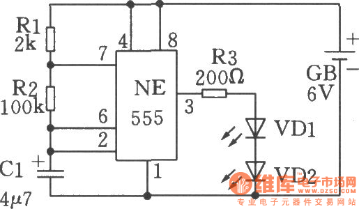 low frequency oscillator  flashing shine circuit  circuit 1 made by 555 time