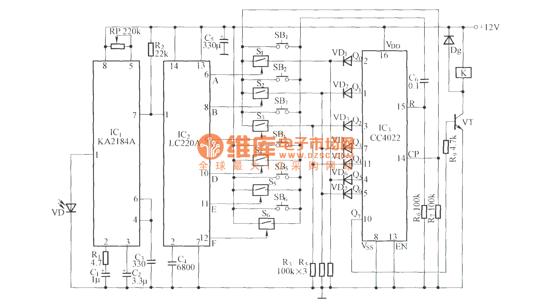 infrared remote control code switch circuit