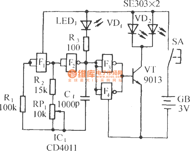 infrared remote control music outlet circuit 1 - automotive circuit - circuit diagram