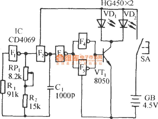 infrared remote control music outlet circuit 3 - basic circuit - circuit diagram