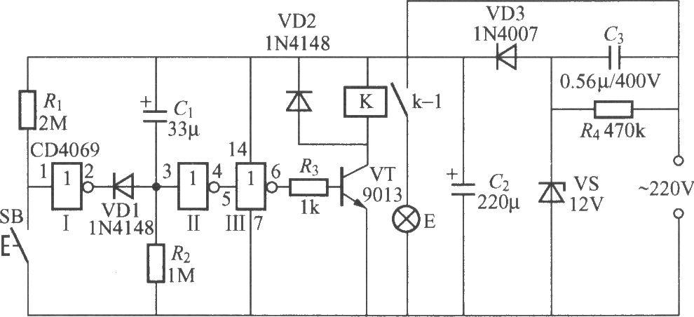 delay light circuit with digital circuit 1  - control circuit - circuit diagram