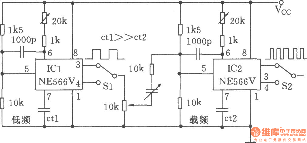 the low-frequency fm generator composed of two ne566v