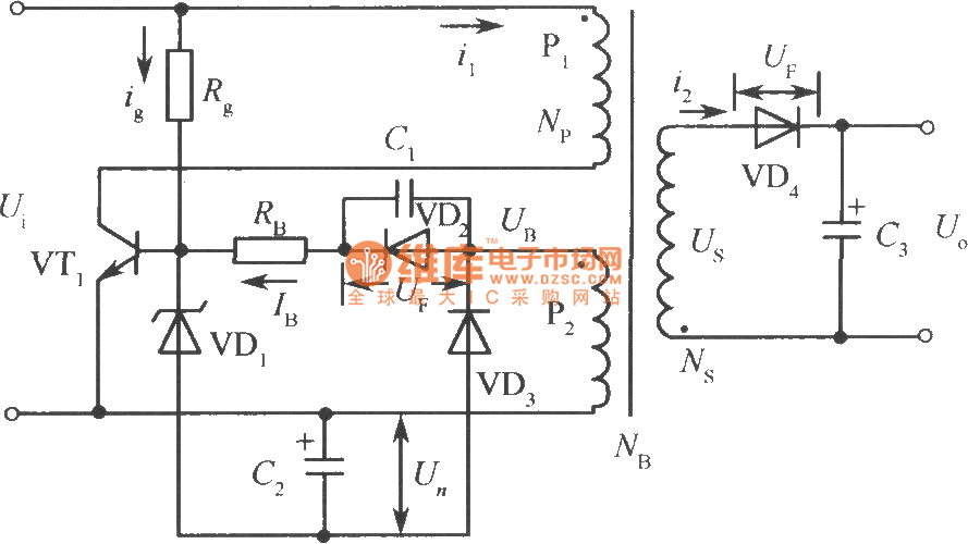 Simple Ringing Choke Type Switching Stabilized Voltage
