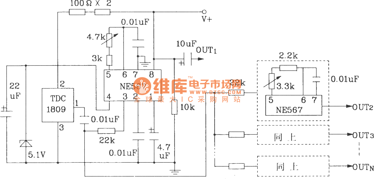 Single And Multi Channel Remote Control Transmitter Receiver Circuitdiagram Measuringandtestcircuit Dccapacitortestercircuit Circuit Composed Of Tdc1808 1809