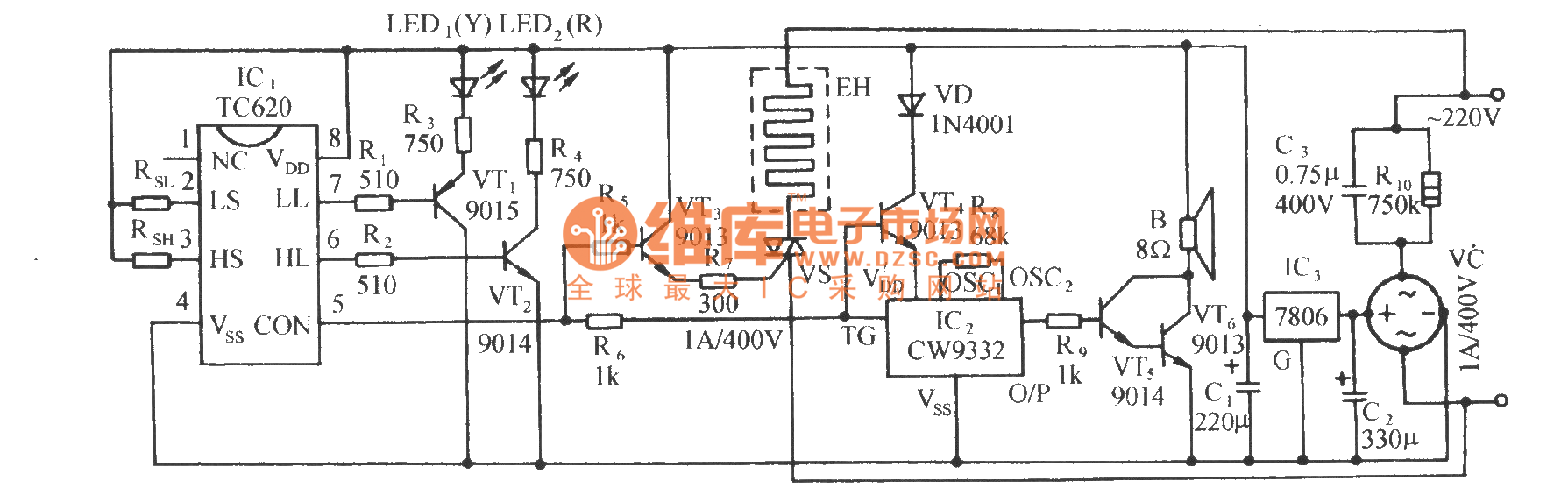 Tc620 Temperature Sensing Automatic Heating Control And Circuit Diagram