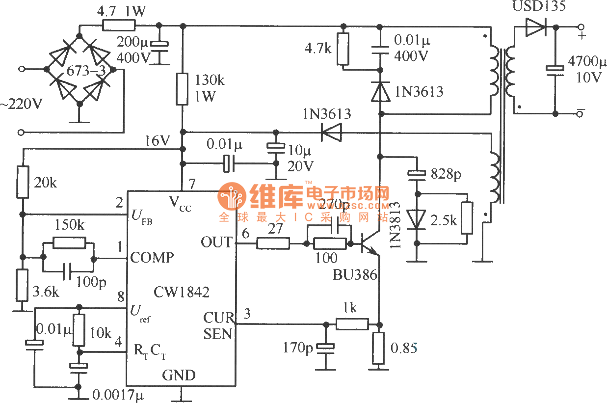 single end fly back converter circuit external connected ambipolar power tube by cwi842