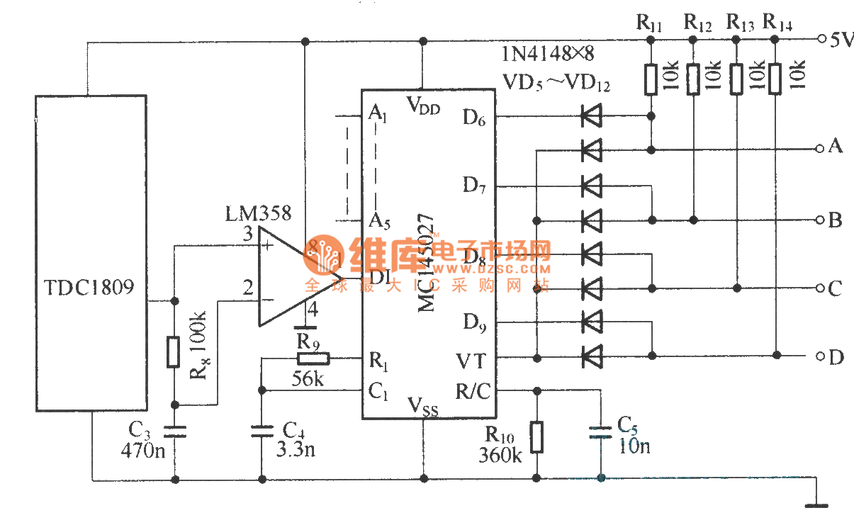 composed of tdc1808  tdc1809 digital coding control circuit