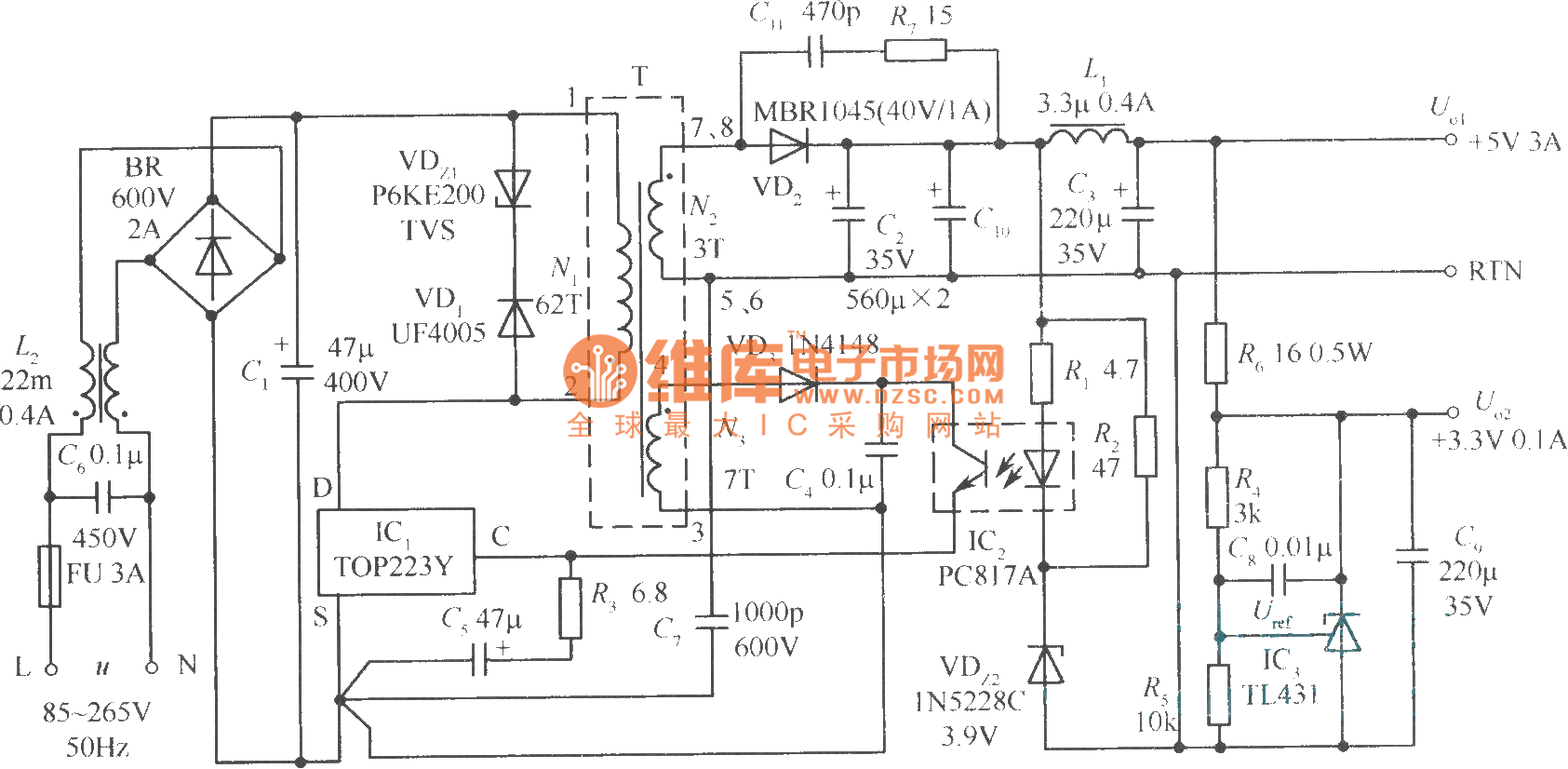 Dual Output Switching Regulated Power Supply Circuit Radio Frequency Controlcircuit Diagram Seekic The