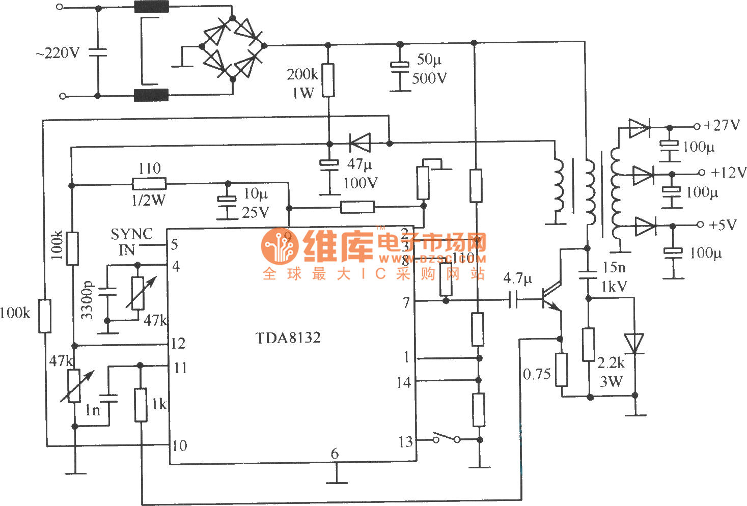 Tda8132 Typical Application Circuit Switching Regualted Power Electric Sunroof Basiccircuit Diagram Seekic Supply