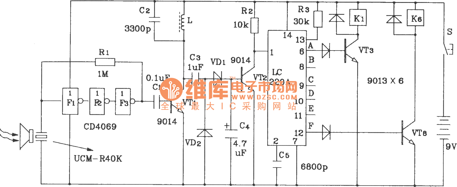 Ultrasonic 6 Road Remote Control Receiver Application Circuit Autosoundamp Powersupplycircuit Diagram Seekiccom Composed Of Lc219 220a