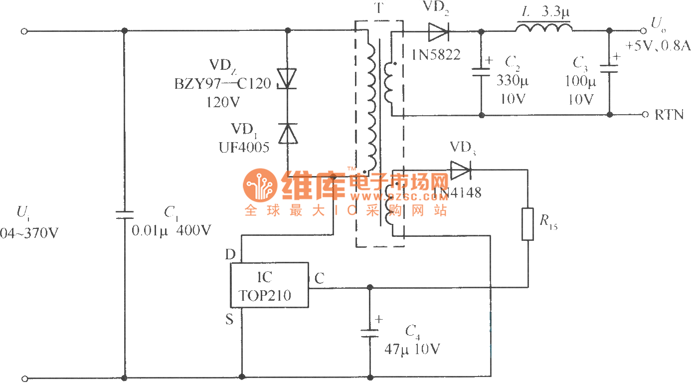 5v 4w Switching Power Supply Circuit Composed Of Single Chip Top210