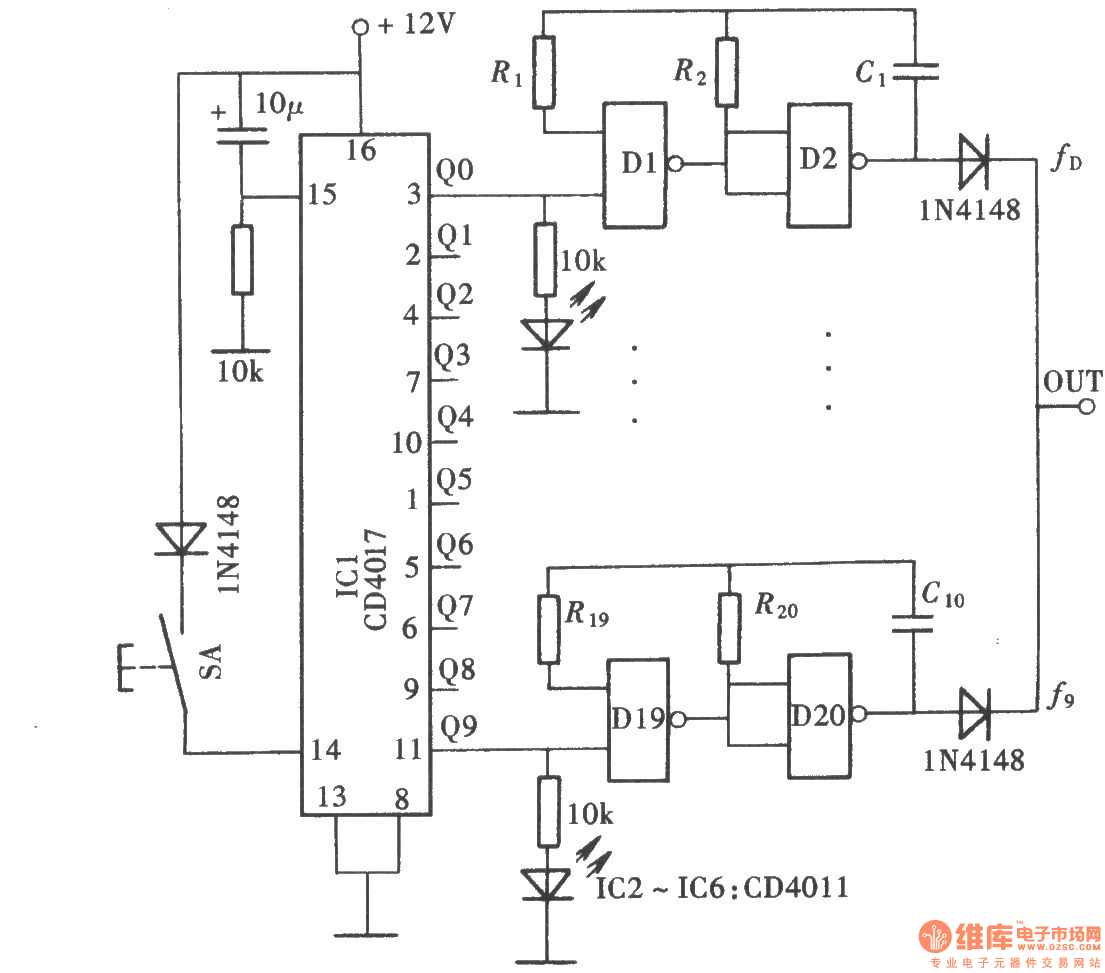 Ten Blocks Frequency Signal Generatorcd4011cd4017 Afcamplifier Amplifiercircuit Circuit Diagram Seekiccom