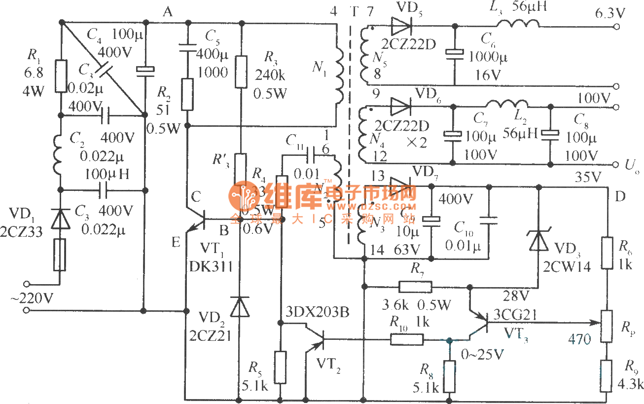 Output Sampling Winding Isolated Switching Power Supply Combination Lock 11 Controlcircuit Circuit Diagram Seekiccom