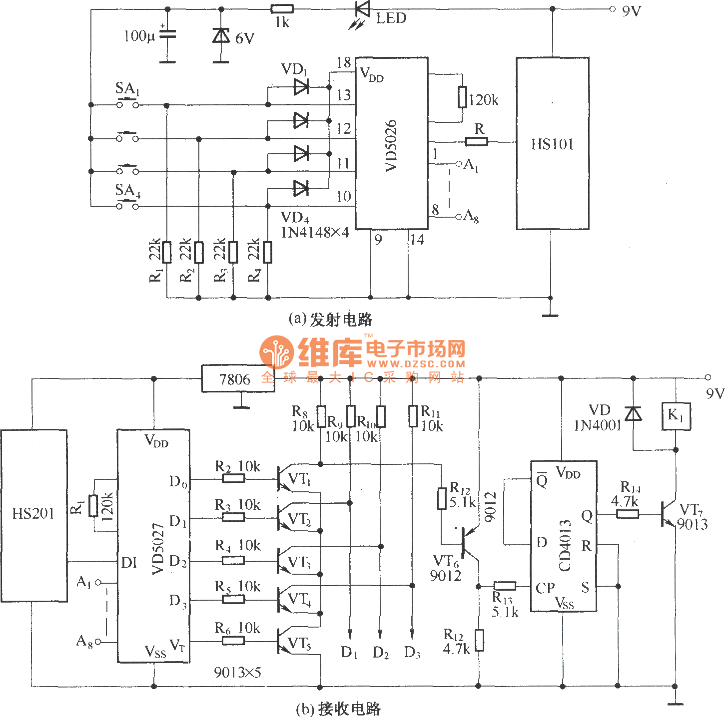 composed of hs101 hs201 4 channels remote control switch circuitcomposed of hs101 hs201 4 channels remote control switch circuit diagram
