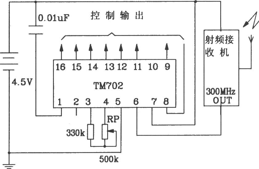 composed of tm701 and tm702 rf remote control transmitter and, Wiring circuit