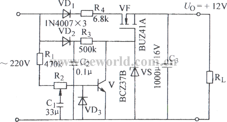 regulated power supply circuit without transformer