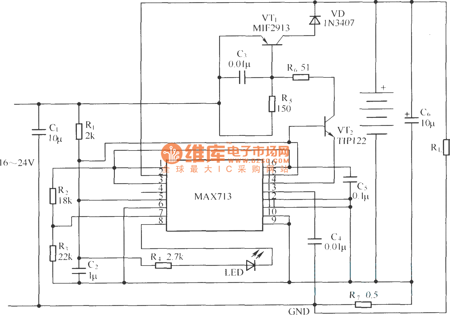 Max713 Application Circuit Under Linear Model Basic Electroniccombinationlock Basiccircuit Diagram Seekic