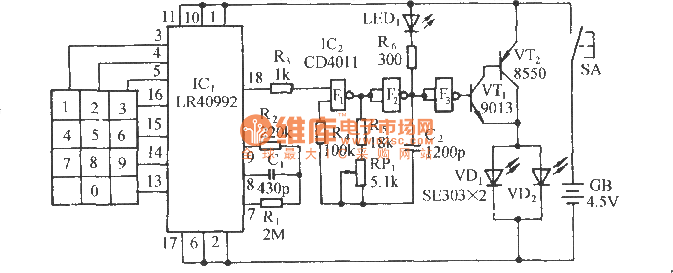 pulse dialing seven road infrared remote control circuit diagram - automotive circuit