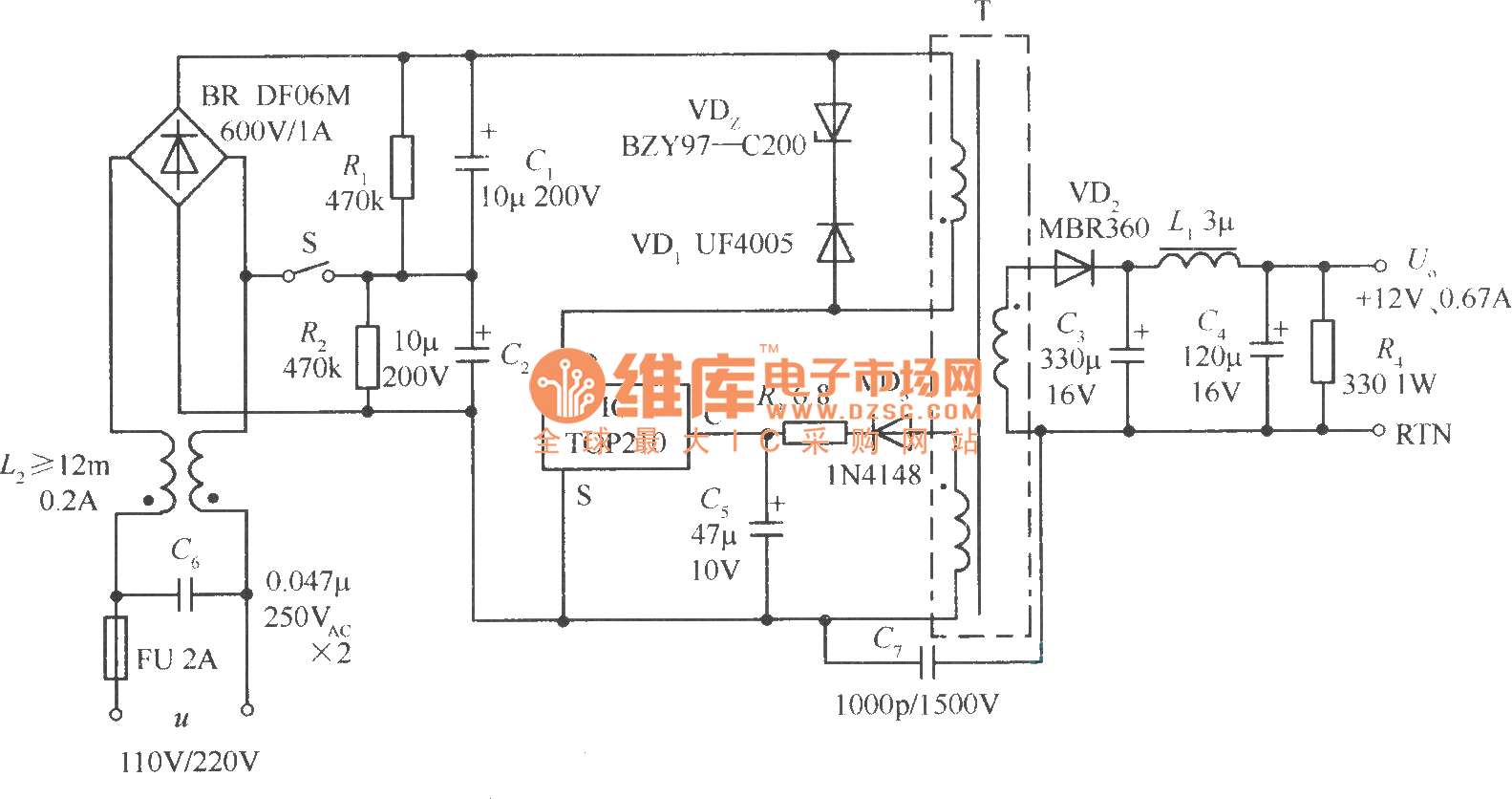 110v Power Supply Diagram Trusted Wiring Diagrams Of Lm7805 Powersupplycircuit Circuit Seekiccom Switching Regulated Using Doubling Voltage 220v Indicator Light