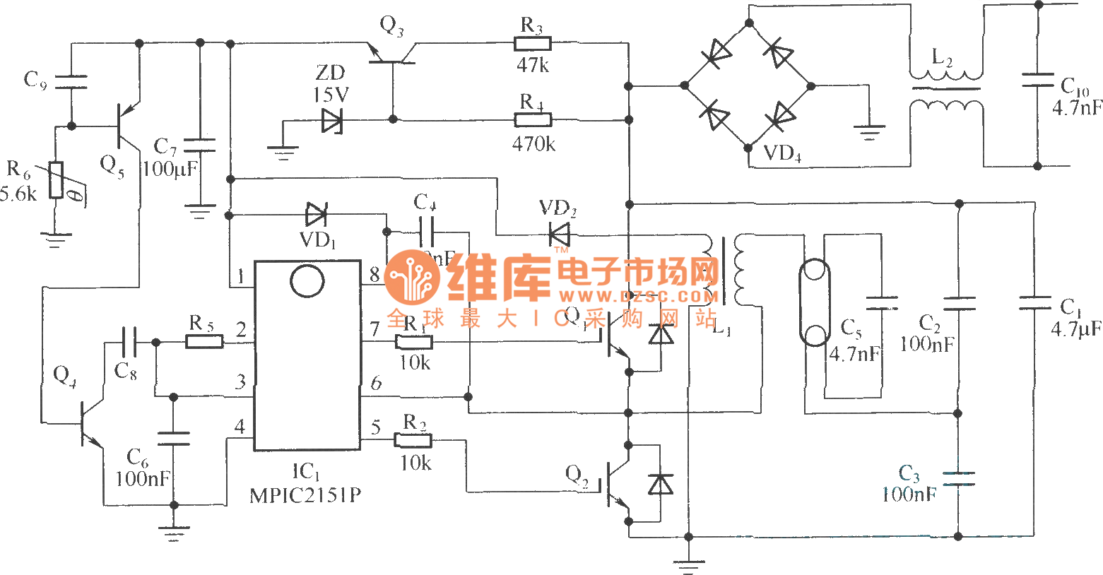 Cfl Electron Ballast Circuit Composed Of Mpic2151p And