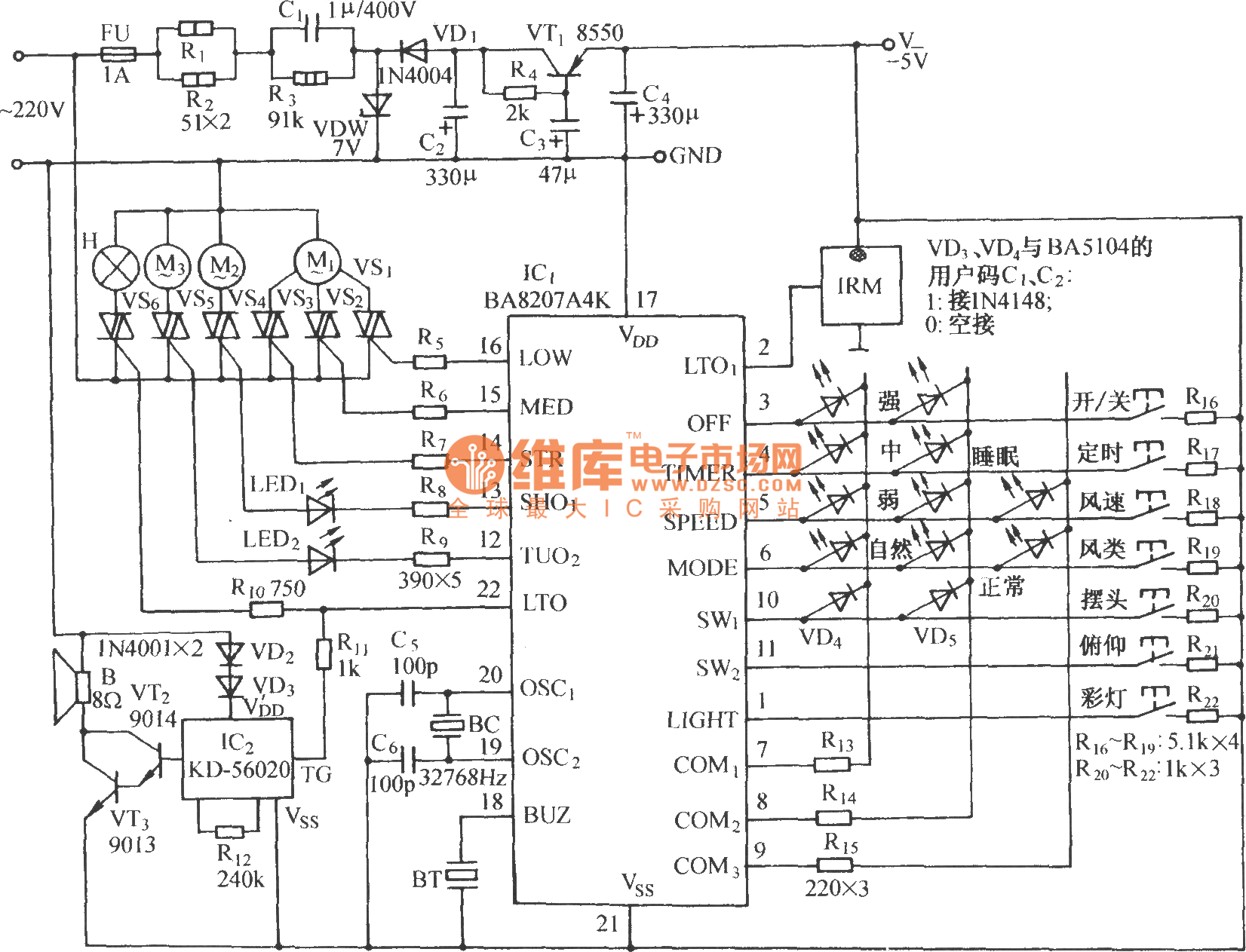 Ba5104ba8207k Multi Function Infrared Remote Control Electric Fan Circuit Diagram 19 Computerrelatedcircuit With The Sound Of Crickets Ba5104 Coded Transmitter