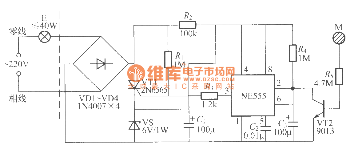 touch delay light circuit with time base circuit  2  - control circuit
