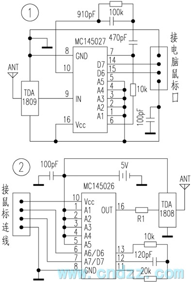 simple and practical mouse remote control circuit diagram, Wiring block