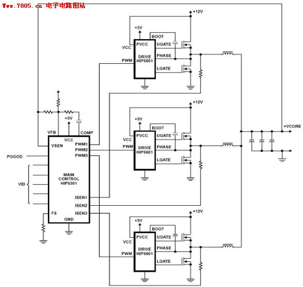 The motherboard two-phase three-phase power supply circuit diagram ...