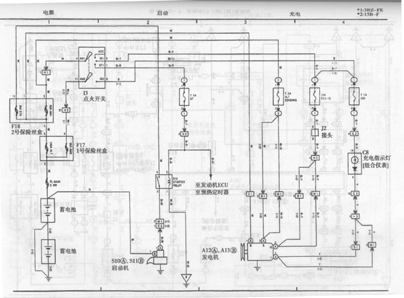 Toyota Coaster Bus Start System And Charging System Circuit Diagram