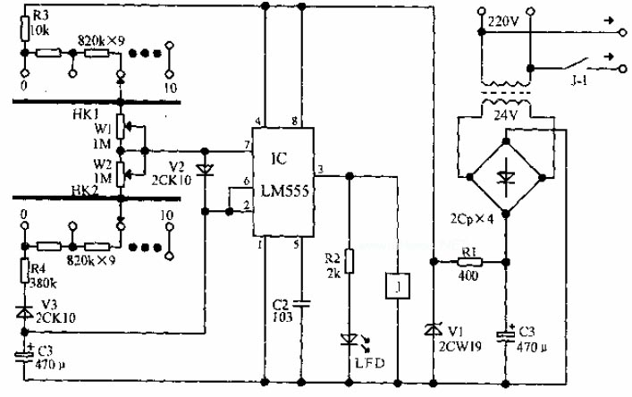 electrical apparatus start-stop circulatory timer circuit diagram - time control