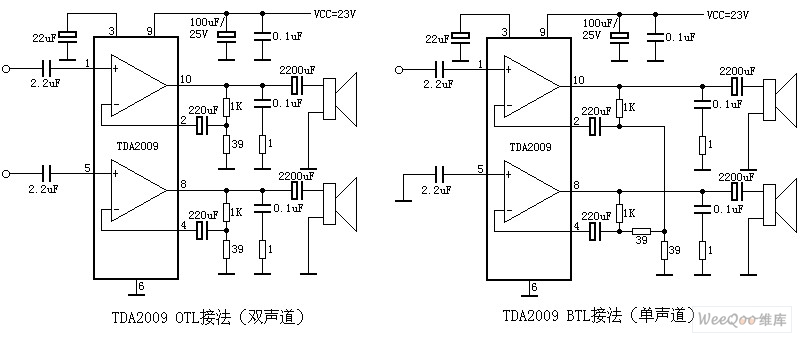 20114273226574 tda2009 mono and stereo audio power amplifier circuit diagram