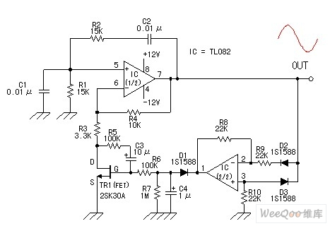 Using TL082 sine wave generator circuit diagram