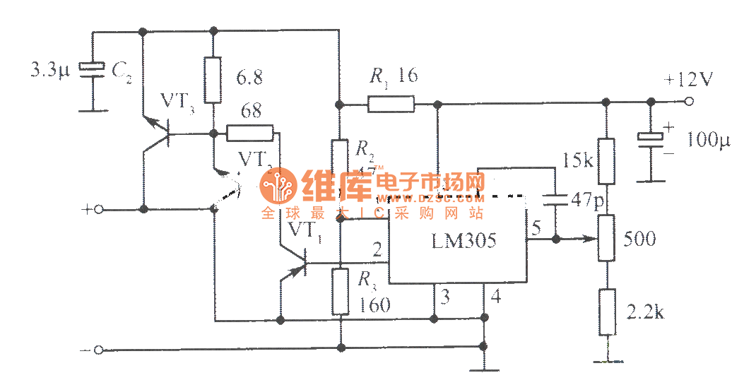 12v U300110a Regulated Power Supply Composed Of Lm305