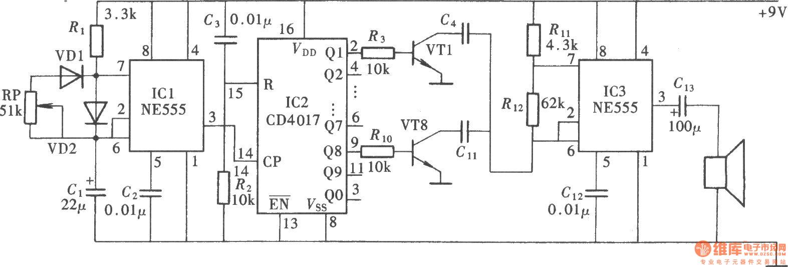 Special Sound Audio Oscillator Circuitne555cd4017 Http Wwwseekiccom Circuitdiagram Amplifiercircuit Darkcurrent