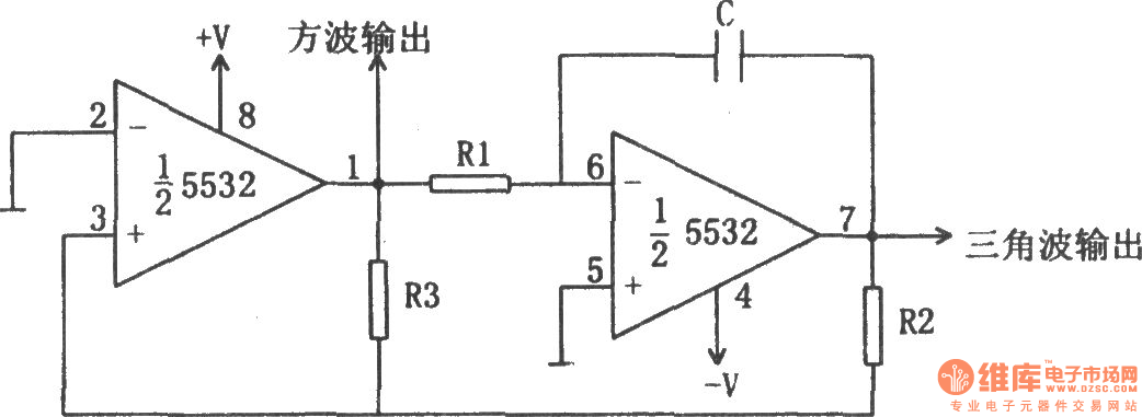 square wave and triangle wave oscillator 5532