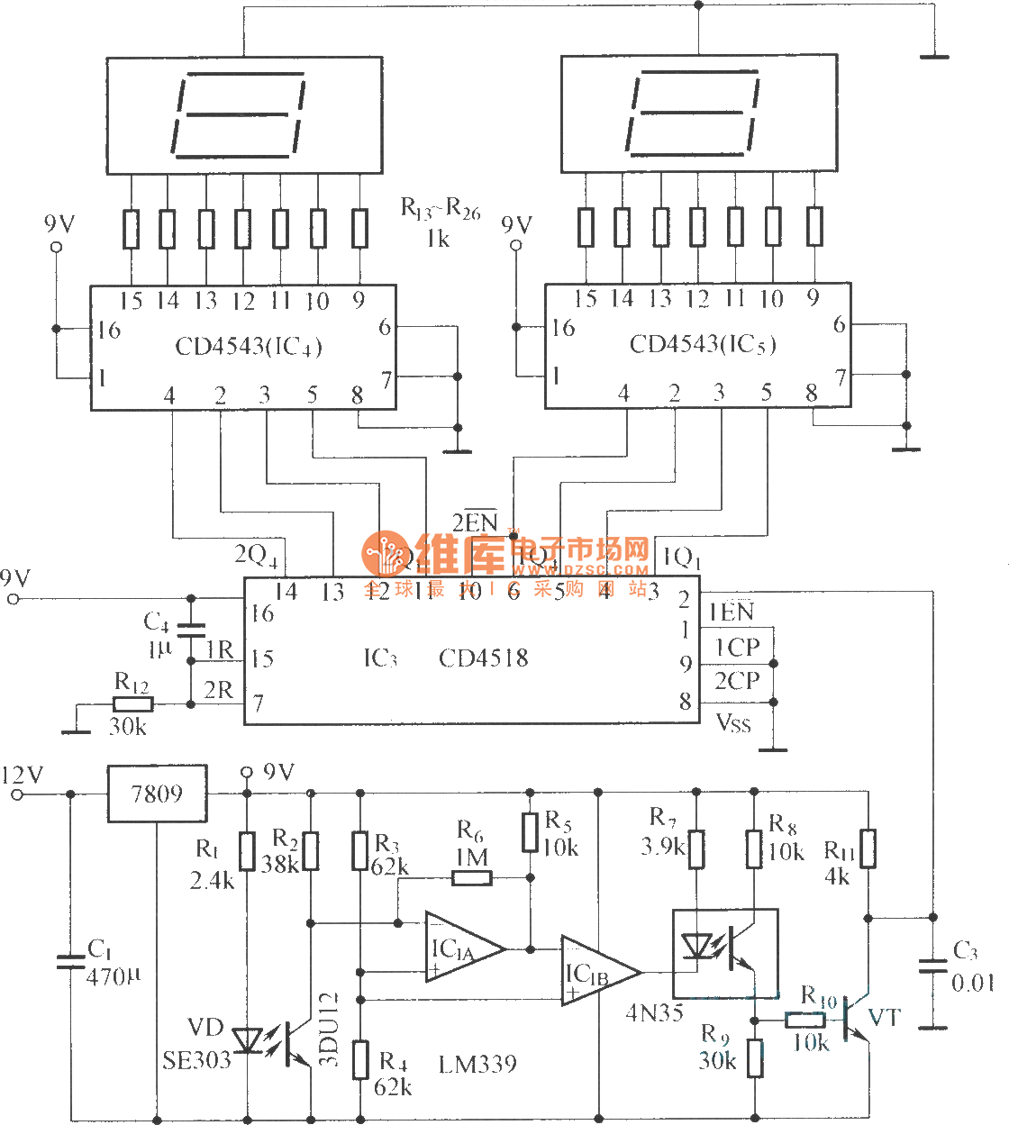 Digital Displaying Photoelectric Counter Circuit Diagram Threetonegenerator Signalprocessing Seekic