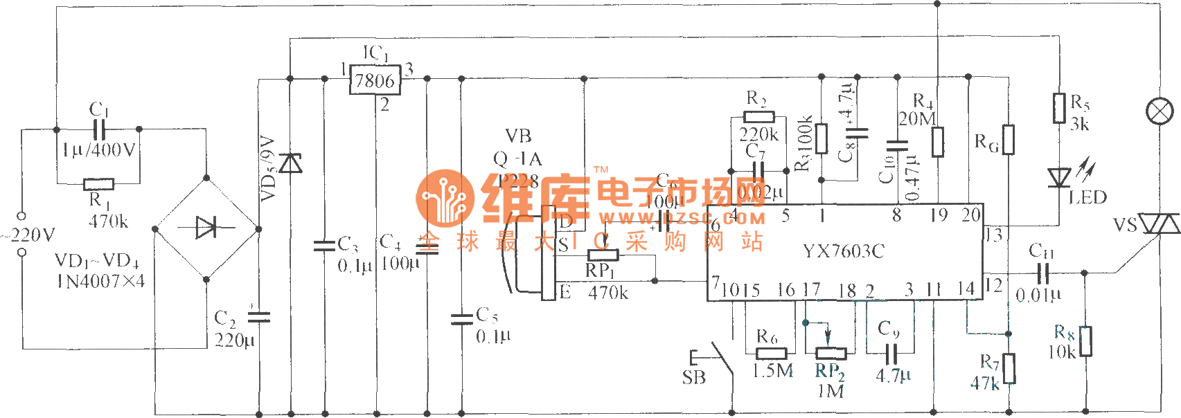 Pyroelectricity Human Body Induction Lamp Switch Circuir Diagram Circuit 19 Computerrelatedcircuit Yx7603c Is A Pyroelectric Infrared Control Integrated