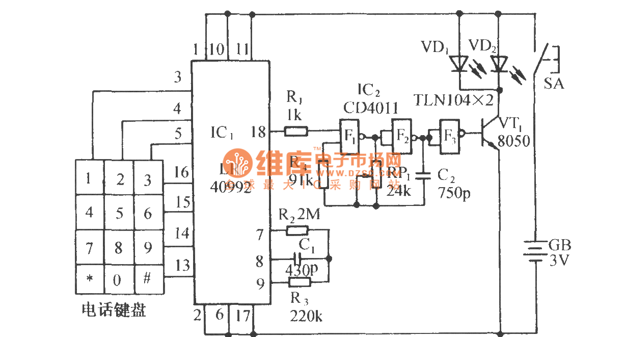 Pulse Dialing Nine Way Infrared Remote Control Circuit Diagram Amenvelopedetector Measuringandtestcircuit Lr40992 Pc1373