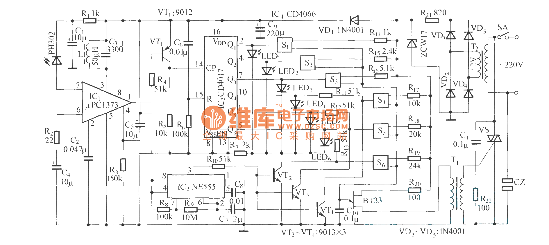 Infrared Remote Control Fan Power Supply Outlet Circuit Diagram For An Ne555